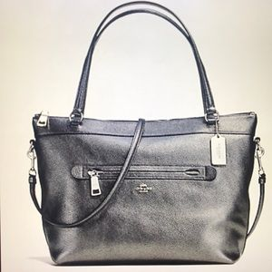 COACH TYLER TOTE IN METALLIC PEBBLE LEATHER